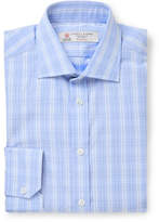 Turnbull & Asser Light-Blue Checked Cotton-Poplin Shirt