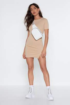 Nasty Gal Womens Slit Up With Me Mini Dress - Beige - 14