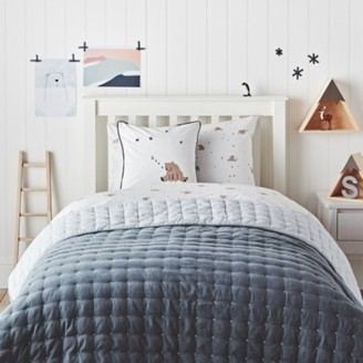 The White Company Chambray & Stripe Cross Stitch Quilt, Blue, Cot Bed
