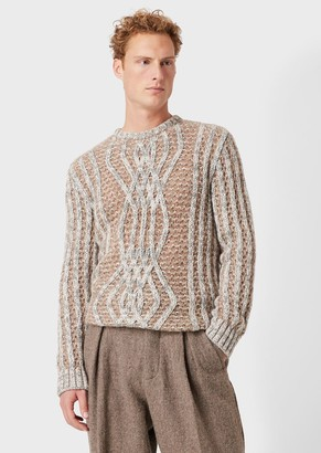 Giorgio Armani Moss Stitch And Argyle Pattern Sweater