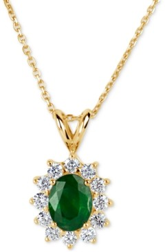 Macy's Emerald (1-1/10 ct. t.w.) and Diamond (5/8 ct. t.w.) Pendant Necklace in 14k Gold