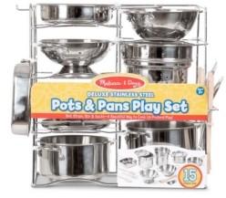 Melissa & Doug Melissa Doug Deluxe Stainless Steel Pots Pans Play Set Pretend Cooking 15 Pcs