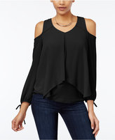Amy Byer Juniors' Draped Cold-Shoulder Top