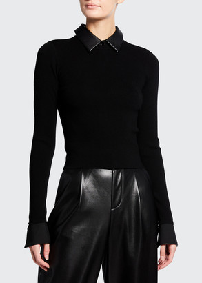 Alice + Olivia Dory Fitted Pullover with Collar