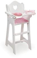 Badger Basket Doll High Chair with Plate Bib Spoon - Chevron Print