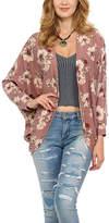 Celeste Dark Pink Floral Open Cardigan