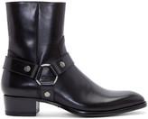 Saint Laurent Black Leather Harness Wyatt Boots