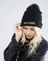 Asos Fine Knit Faux Fur Pom Beanie with Slogan