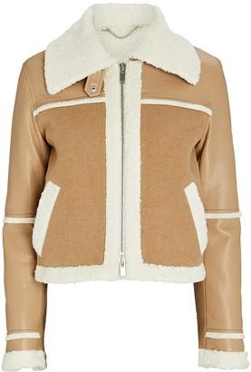 Jonathan Simkhai Adelynn Colorblocked Faux Shearling Jacket
