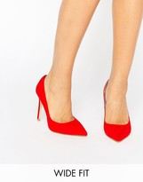 Faith Wide Fit Chloe Red Pumps