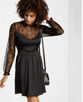 Express lace v front fit and flare dress