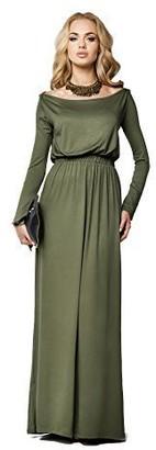 FUTURO FASHION Elegant Long Sleeve Stunning Maxi Dress with Separate Belt Full Length Boat Neck Subtle Style Open Neckline Size 8-14 UK 8193