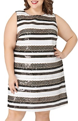Maree Pour Toi Plus Striped Sequined Dress