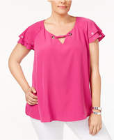 NY Collection Plus Size Flutter-Sleeve Grommet Top