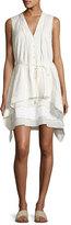 Maiyet Draped Sleeveless Belted Dress, White