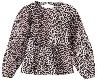 Ganni Leopard Jacquard Open-Back Top