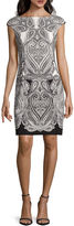 Liz Claiborne London Style Collection Short-Sleeve Ponte Medallion Sheath Dress - Petite