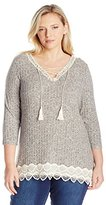 Jolt Women's Plus Size 3/4 Sleeve Heather Rib Lace up Top