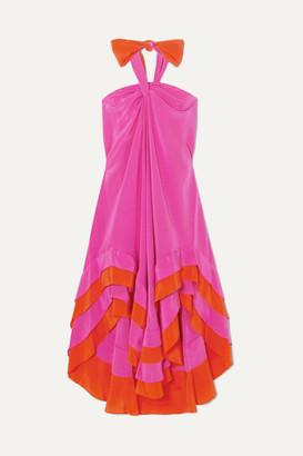 Diane von Furstenberg Sage Ruffled Silk Crepe De Chine Halterneck Dress - Fuchsia