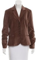 Elie Tahari Velvet Button-Up Blazer