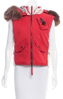 Andrew Mackenzie Rabbit Fur Hooded Vest w/ Tags