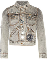 Marc Jacobs Embellished Appliquéd Denim Jacket - Gray