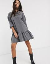 Bershka acid wash smock dress in gray