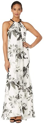 Calvin Klein Beaded Neck Floral Gown (Cream Multi) Women's Dress