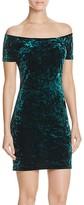 Aqua Velvet Off-The-Shoulder Dress
