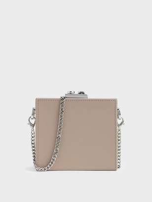 Charles & Keith Boxed Leather Mini Square Pouch