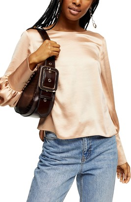 Topshop Tie Back Long Sleeve Satin Blouse