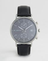 Sekonda Chronograph Leather Watch In Black 1193