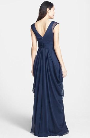 Lela Rose Women's Bridesmaid Drape Crinkled Chiffon Gown, Size 14 - Blue