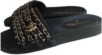 Chanel Navy Leather Sandals
