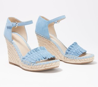 Marc Fisher Ruched Suede Espadrille Wedges - Kadria