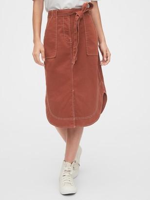 Gap Khaki Shirttail Midi Skirt