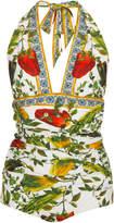 Dolce & Gabbana Halter Plunge Swimsuit
