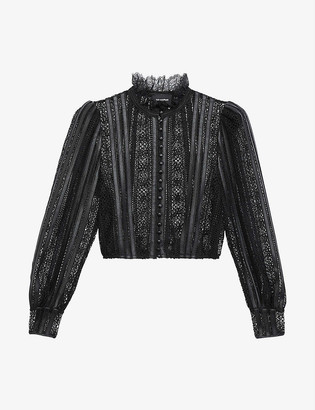 The Kooples Leather-trim sheer lace top