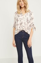 Dynamite Pleated Blouse with Tied Sleeves