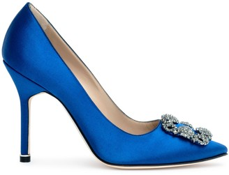 Manolo Blahnik Hangisi 105 Royal blue satin pumps