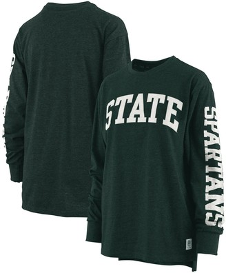 Women's Pressbox Heathered Green Michigan State Spartans Two-Hit Canyon Long Sleeve T-Shirt