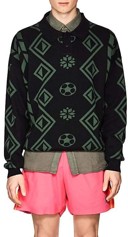 Gosha Rubchinskiy Men's Geometric-Pattern Cotton Polo Sweater