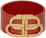 Balenciaga Red Leather BB Bracelet