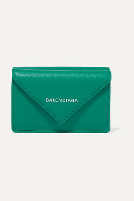 Balenciaga Papier Mini Printed Textured-leather Wallet - Green