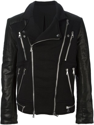 Balmain Zip Detail Biker Jacket
