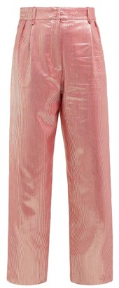BLAZÉ MILANO Diva Metallic High-rise Silk-blend Trousers - Pink Multi