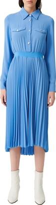 Maje Long Sleeve Pleated Skirt Dress