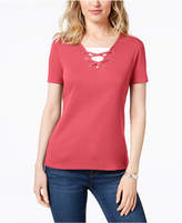Karen Scott Petite Cotton Lace-Up Layered-Look Top, Created for Macy's