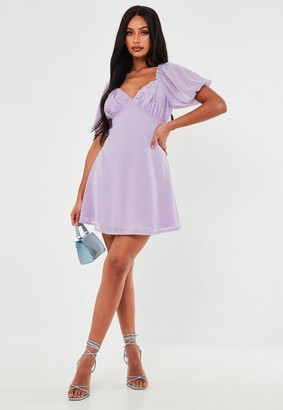 Missguided Lilac Dobby Milkmaid Skater Dress