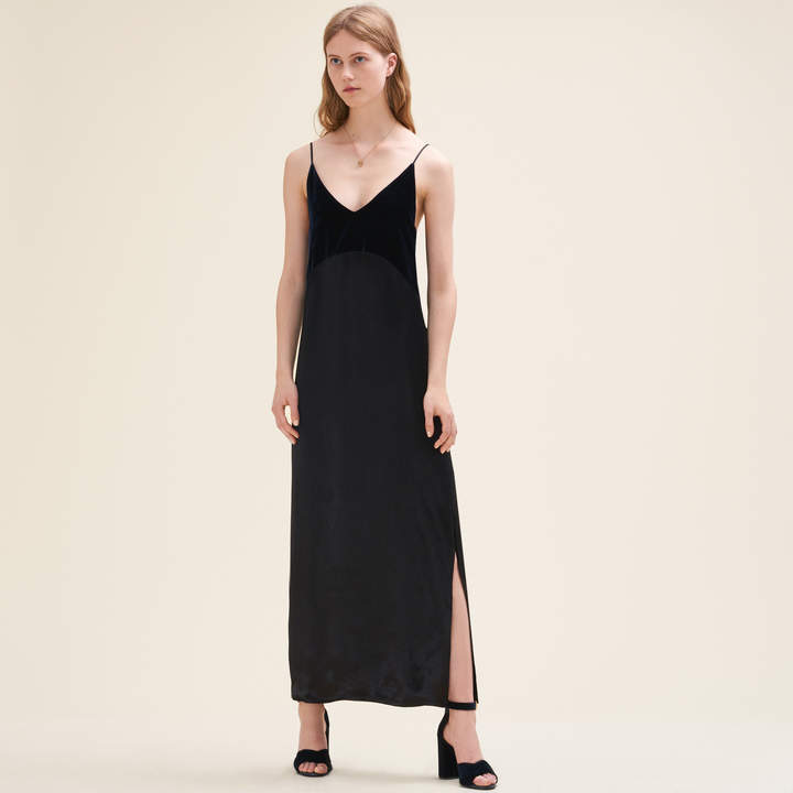 Maje Long dual-material dress